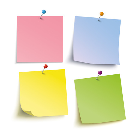 adhesive note: Infographic with colored stickers and tacks on the grey background. Eps 10 vector file.