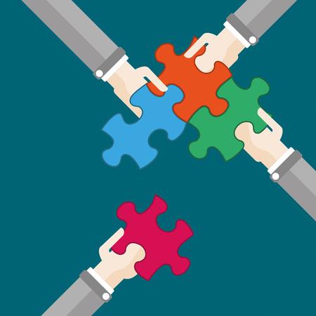 conquering adversity: 4 manos con piezas de un rompecabezas. EPS 10 archivos de vectores.