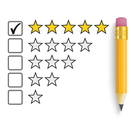 Pencil with rating stars on the white. Eps 10 vector file.