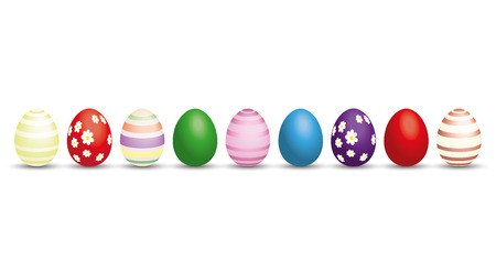 eps 10: Nine colored easter eggs on the white. Eps 10 vector file.