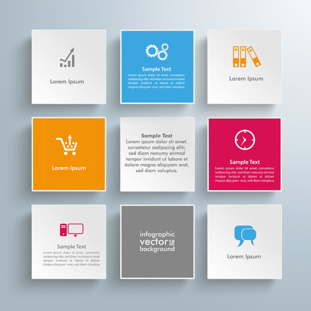 nine: Infographic design with squares on the gray background. Eps 10 vector file. Illustration