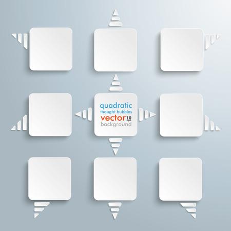 quadratic: 9 globos de pensamiento de segundo grado en el fondo gris. EPS 10 archivos de vectores.