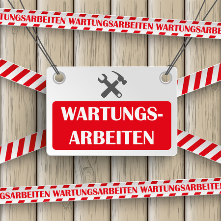 estate planning: Template design on the wooden background. German text Wartungsarbeiten, translate Maintenance. Eps 10 vector file. Illustration