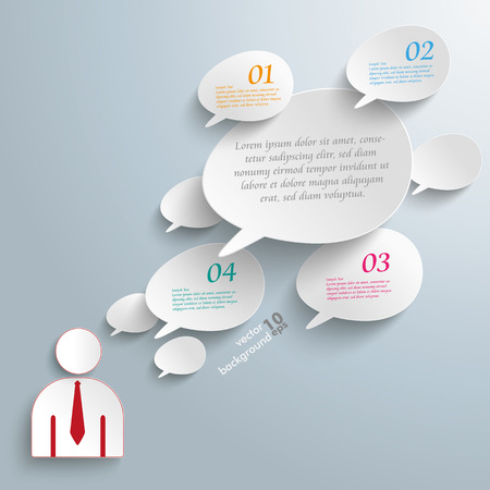bevel: Infographic with bevel speech bubbles and businessman on the gray background. Eps 10 vector file. Illustration
