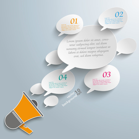 bevel: Infographic with bevel speech bubbles and magaphone on the gray background. Eps 10 vector file. Illustration