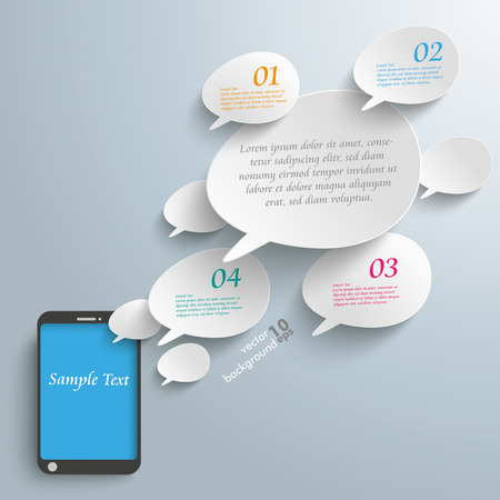 bevel: Infographic with bevel speech bubbles and smartphone on the gray background. Eps 10 vector file.