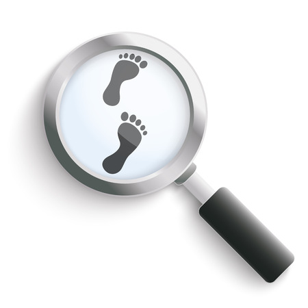footing: Black footprints with loupe on the white background. Eps 10 vector file.