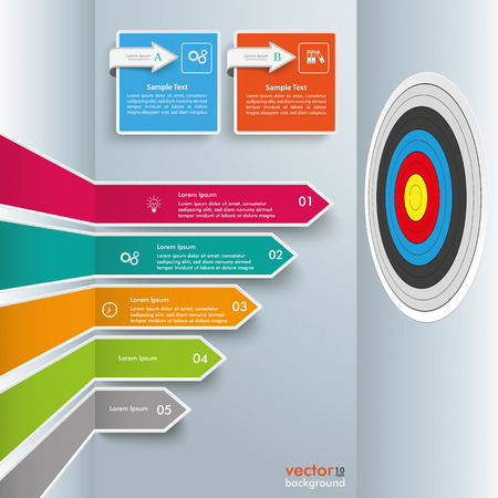 histogram: Infographic template with broken arrows and target, on the gray background. Eps 10 vector file. Illustration
