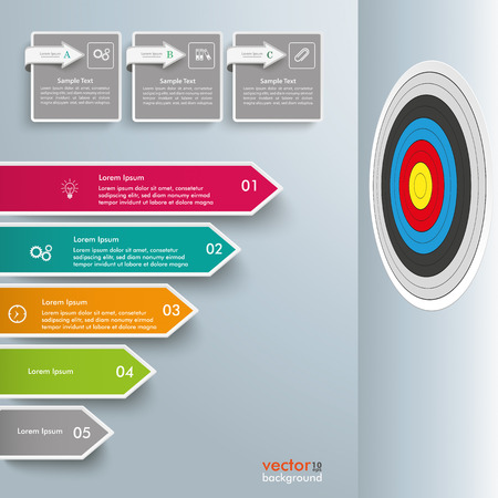booster: Infographic template with broken arrows, squares and target, on the gray background. Eps 10 vector file.