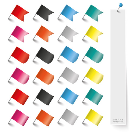 postit note: Colored pin flags on the white background. Eps 10 vector file. Illustration