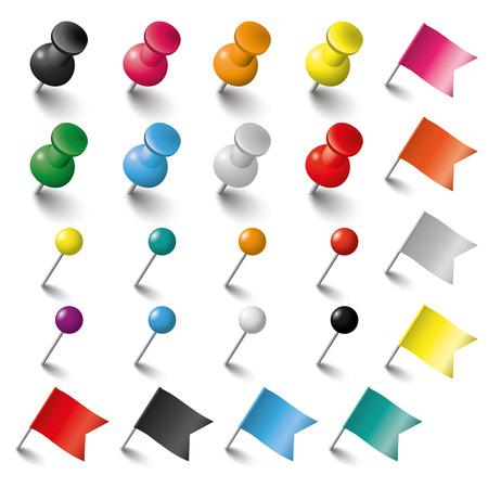 色のピン、フラグは、白い背景の上の鋲。Eps 10 ベクトル ファイル。