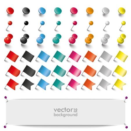 tachuelas: Alfileres de colores, banderas y tachuelas en el fondo blanco. EPS 10 archivos de vectores. Vectores