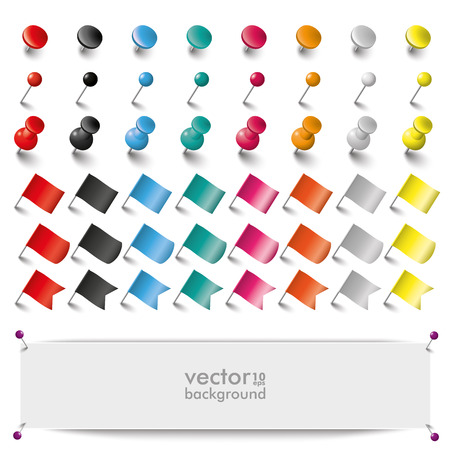 Colored pins, flags and tacks on the white background. Eps 10 vector file.