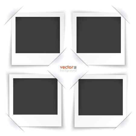 polaroid frame: Convert 4 instant photos on the gray background. Eps 10 vector file. Illustration