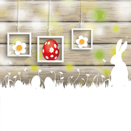 Easter greeting card with rabbit, eggs and lights on the wooden background.  Vector