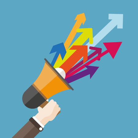Human hand with a bullhorn and colored arrows. Eps 10 vector file. Vector