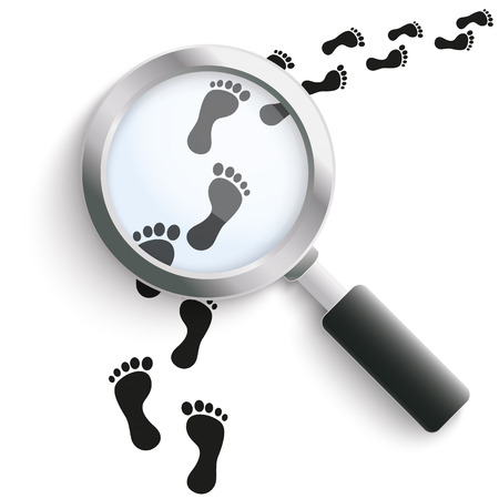 eps 10: Black footprints with loupe on the white background. Eps 10 vector file.