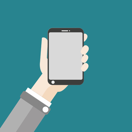 10 fingers: Flat design with human hand and a smartphone. Eps 10 vector file.