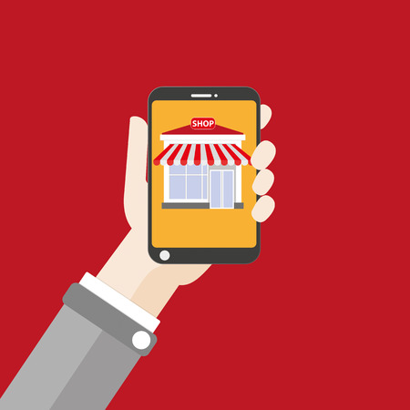 onlineshop: Flat design with human hand, smartphone and online shop. Eps 10 vector file.
