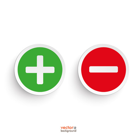 Pro and contra round icons on the white background. Eps 10 vector file. Ilustração