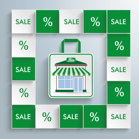 onlineshop: Squares with bio shopping bag on the gray background. Eps 10 vector file.