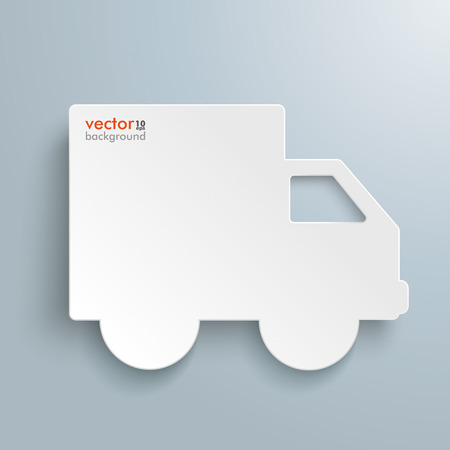 paperboard: White paper car with shadows on the grey background. Eps 10 vector file.