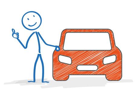 bonhomme allumette: Stickman avec le symbole de la voiture sur le blanc. Eps 10 fichier vectoriel. Illustration
