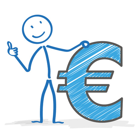 coinbank: Stickman with Euro on the white background.  Illustration
