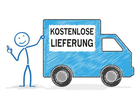paper delivery person: Stickman with shipping car on the white. Germant text kostenloser Lieferung, translate free shipment.  Illustration