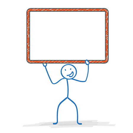 pic  picture: Stickman with with orange frame on the white background.