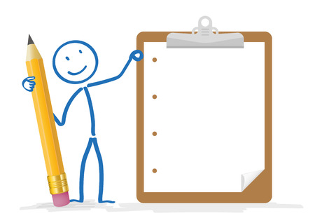 Stickman with pencil and clipboard on the white.  Illustration