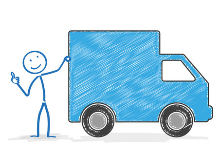 Stickman with shipping car on the white. Eps 10 vector file. Vector