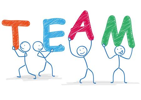 stickmen: 4 stickmen with text TEAM on the white. Eps 10 vector file. Illustration