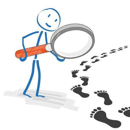 footing: Stickmen with loupe on the white background. Eps 10 vector file.