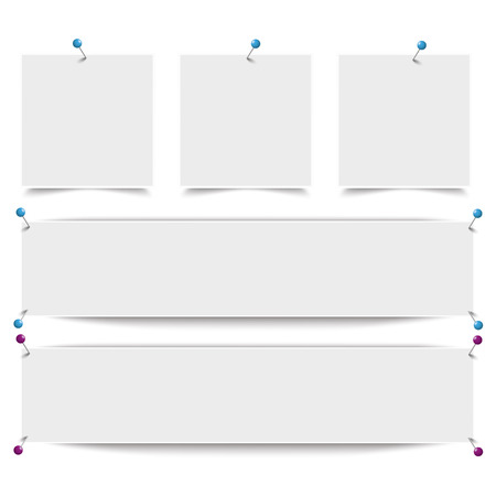 thumb tack: White frame banners with thumbtacks on the white background. Eps 10 vector file.