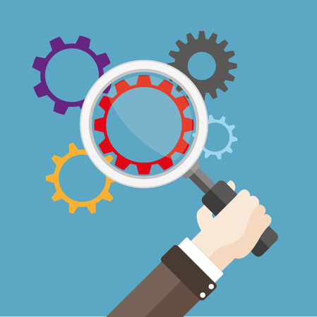 quality control: Human hand with a loupe and gears Eps 10 vector file. Illustration