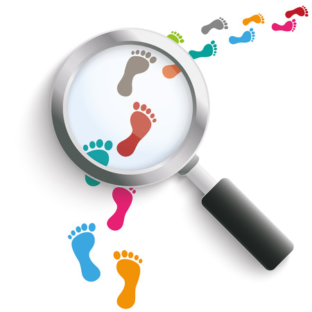 footing: Colored footprints with loupe on the white background. Eps 10 vector file.