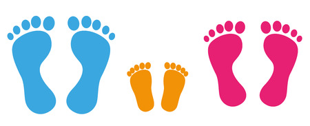 prints: 3 colored footprints on the white background. Eps 10 vector file.