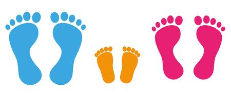3 farbige Fußabdrücke auf dem weißen Hintergrund. Eps 10 Vektor-Datei.