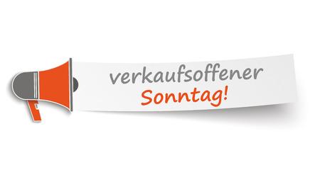 """sonntag: Meg�fono con la bandera y alem�n texto """"verkaufsoffener Sonntag"""", traducir """"abierto de domingo"""". Eps 10 archivos de vectores. Vectores"""