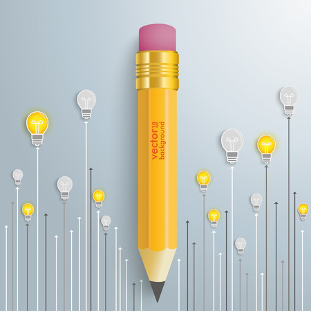 sketch book: Bulbs with pencil on the silver background. Eps 10 vector file.