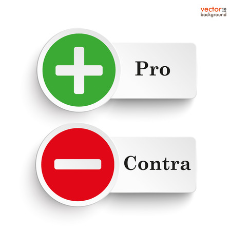 Pro and contra round icons on the white background. Eps 10 vector file. Illustration