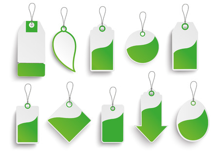 eps 10: Set of green price stickers on the white. Eps 10 vector background.