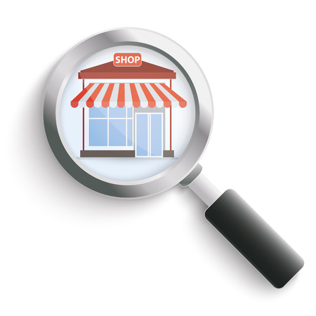 onlineshop: Shop with loupe on the white background. Eps 10 vector file.
