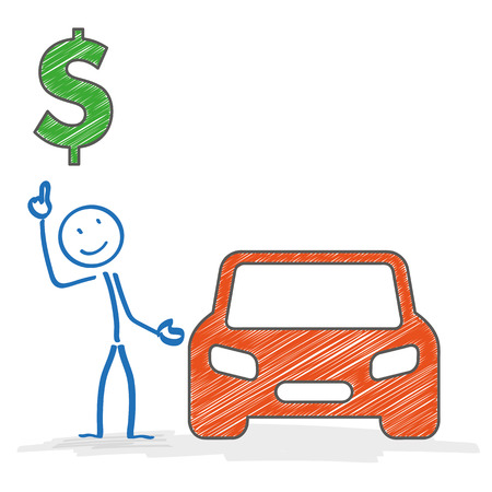 greenbacks: Stickman with car on the white background. Eps 10 vector file. Illustration