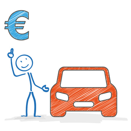 Stickman with car on the white background. Eps 10 vector file. Vector