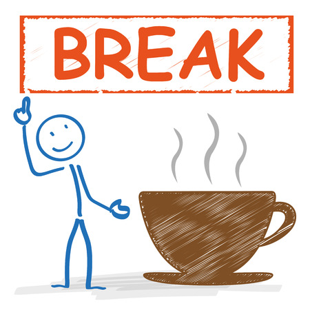recess: Stickman with with coffee cup and german text Pause, translate Break. Eps 10 vector file. Illustration