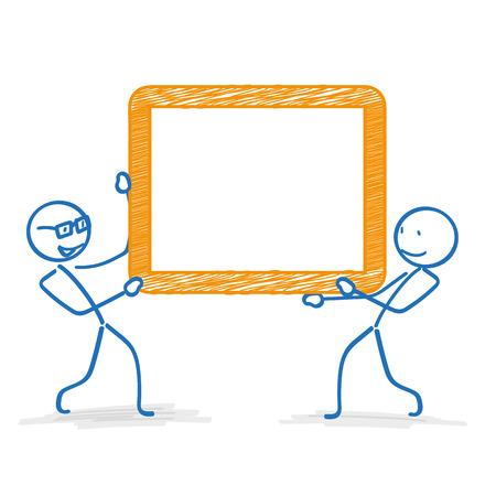 stickmen: Stickmen with orange frame on the white background. Eps 10 vector file. Illustration