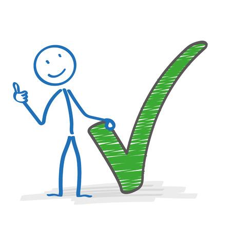 Stickman met met groene vinkje op de witte achtergrond. Eps 10 vector bestand. Stock Illustratie