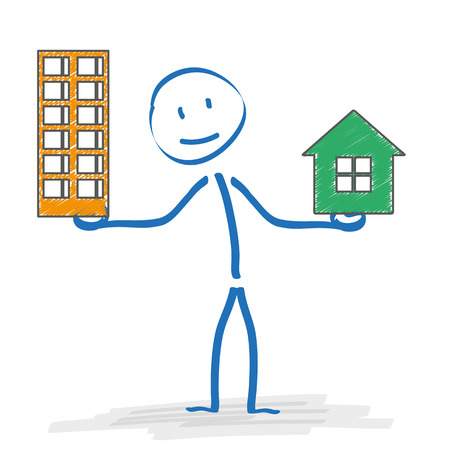 remediation: Stickman with with house and apartmenthouse on the white. Eps 10 vector file.